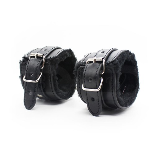 Black Fur Lined Faux Leather Wrist Cuffs