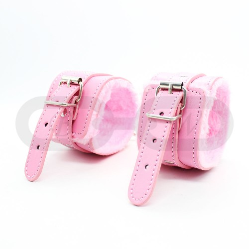 Pink Fur Lined Faux Leather Ankle Cuffs