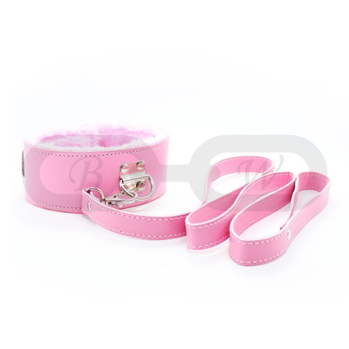 Pink Fur Lined Faux Leather Collar