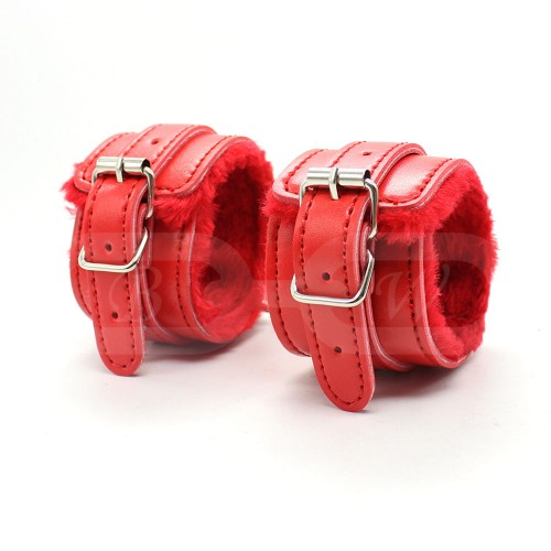 Red Fur Lined Faux Leather Wrist Cuffs