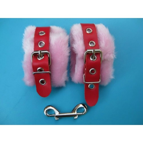 Pink Fur Wrist Cuffs With Red Leather Strap