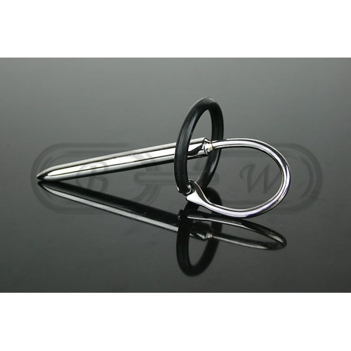 Stainless Steel Urethral Sound with Silicone Penis Ring
