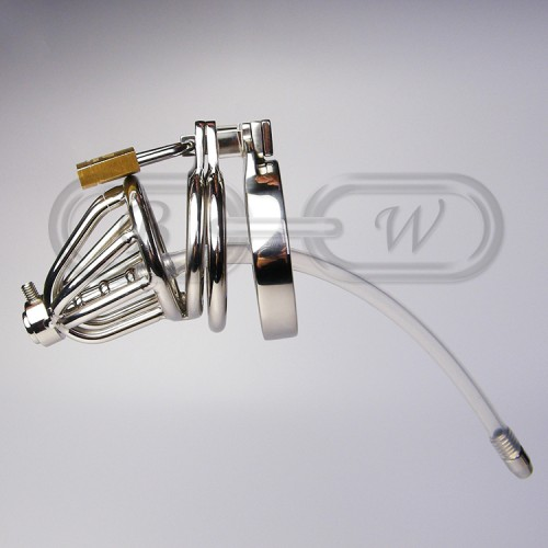 Stainless Steel Chastity Cage with Silicone Urethral Insert