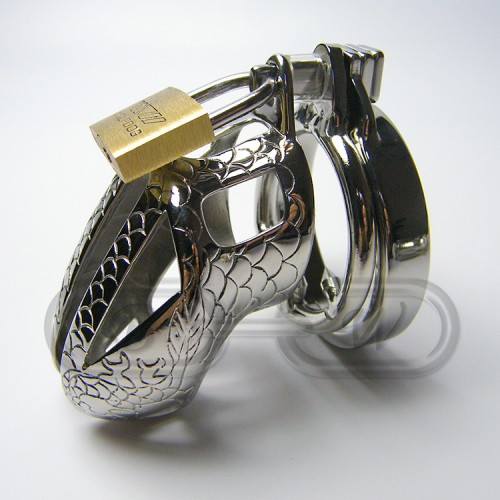 Stainless Steel Snakeskin Chastity Cage