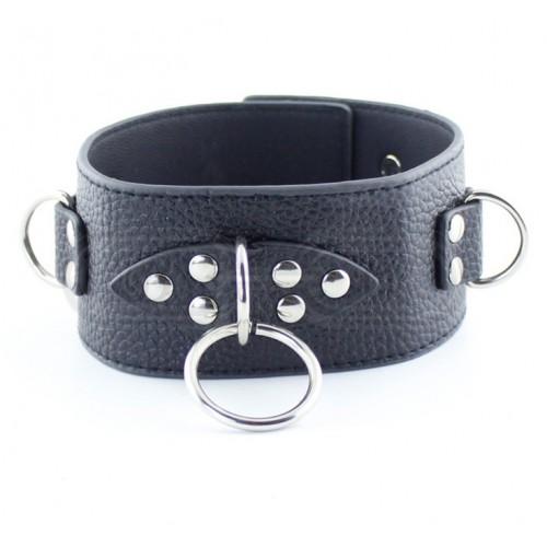 Black Faux Leather Bondage Collar