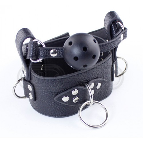 Black Faux Leather Bondage Collar with Ball Gag