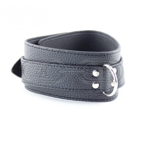 Black Faux Leather Bondage Collar