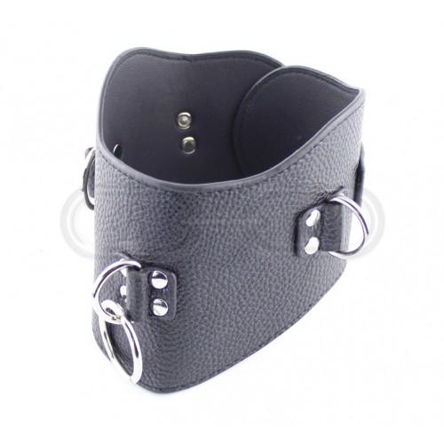 Black Faux Leather Posture Collar