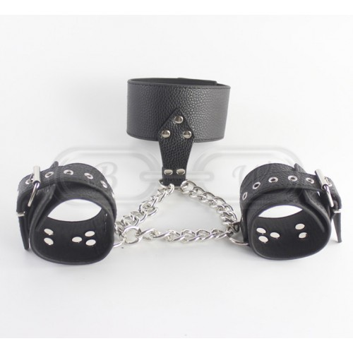 Black Faux Leather Bondage Collar & Wristcuffs