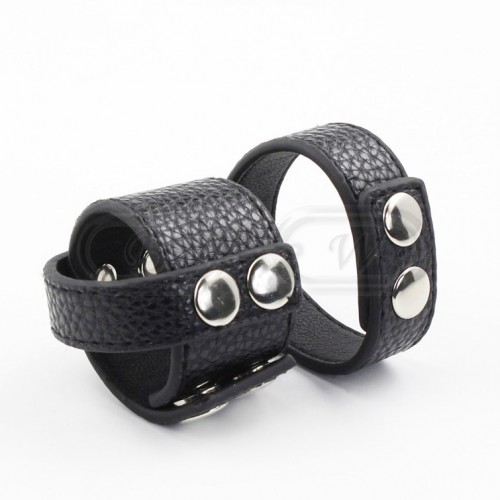 Black Faux Leather Cock & Ball Ring/Strap