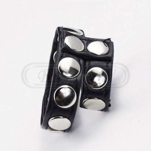 Black Faux Leather Penig Ring with Decorative Metal Studs