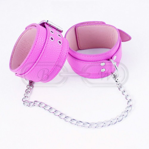 Pink Faux Leather Bondage Ankle Cuffs