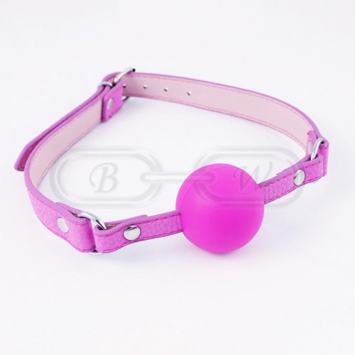 Pink Silicone Ball Gag with Faux Leather Strap