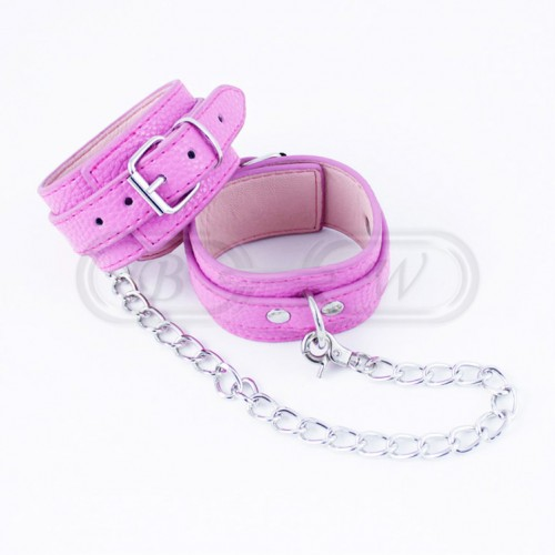 Pink Faux Leather Bondage Wristcuffs