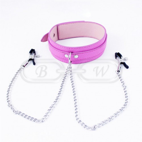 Pink Faux Leather Bondage Collar with Nipple Clips