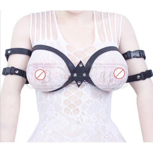 Black Faux Leather Breast and Arm Restraint