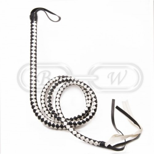 Extra Long (2.1m) Black & White Bull Whip