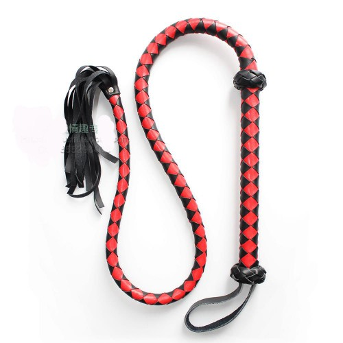 1.5m Black & Red Faux Leather Bull Whip