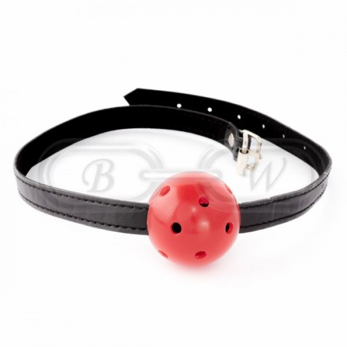Red Breathable Ball Gag with Black Strap