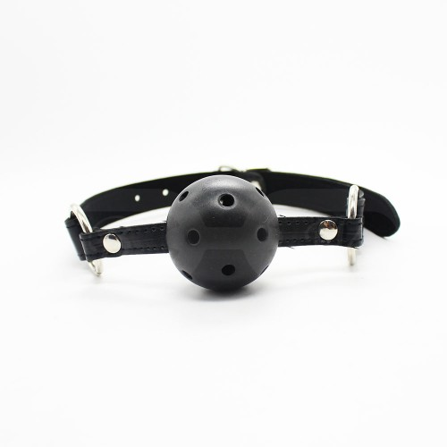 Black Faux Leather Ball Gag