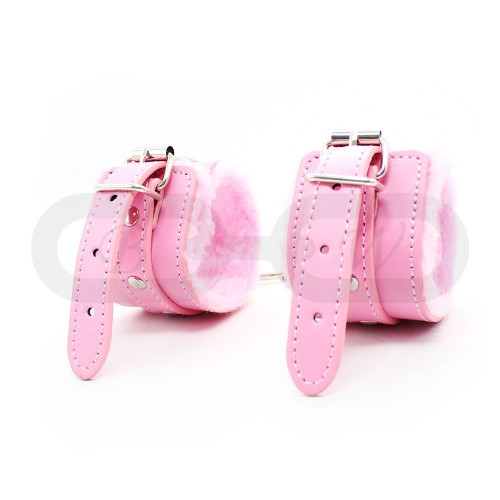 Pink Fur Lined Faux Leather Wrist Cuffs