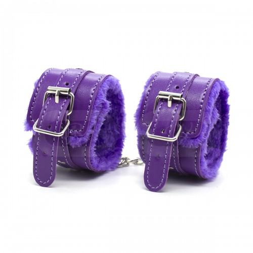 Purple Fur Lined Faux Leather Wrist Cuffs