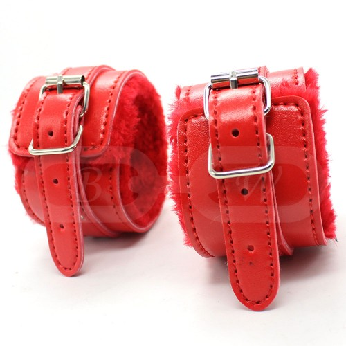 Red Fur Lined Faux Leather Ankle Cuffs
