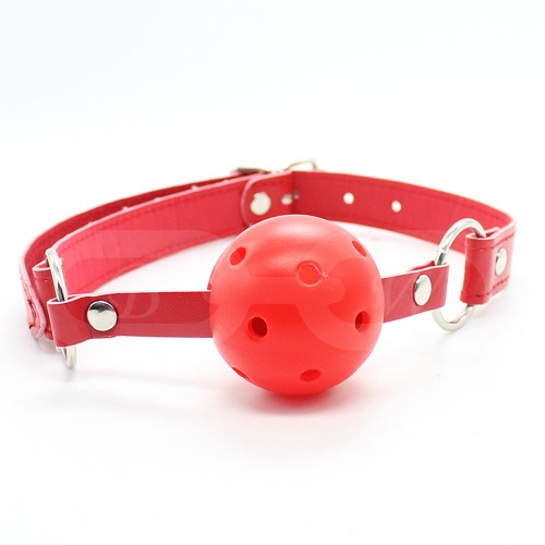 Red Faux Leather Ball Gag