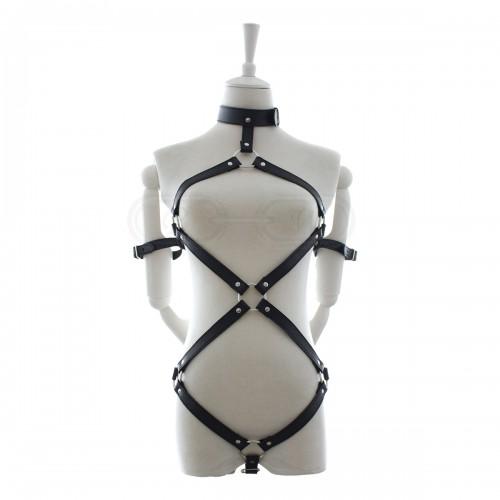 Black Faux Leather Locked Arms Style Female Fetishwear