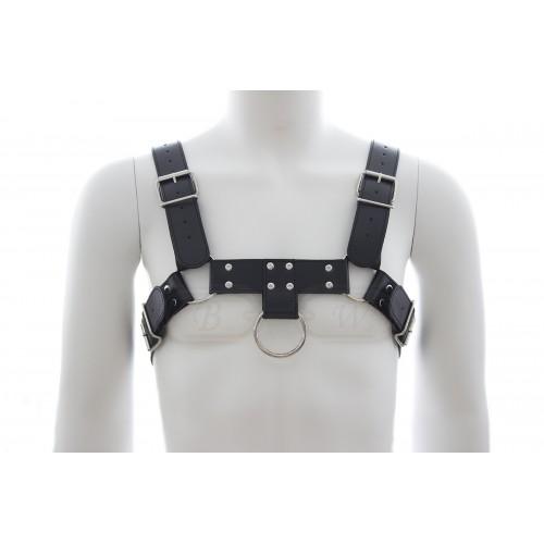 Black Faux Leather Male Fetishwear Chest Harness