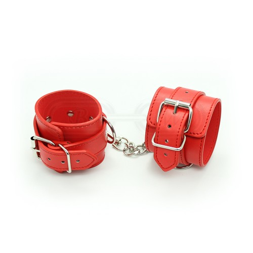 Red Faux Leather Wrist Cuffs