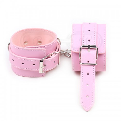 Pink Faux Leather Ankle Cuffs