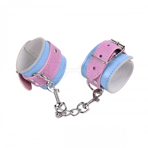 Pink and Blue Faux Leather Wrist Cuffs