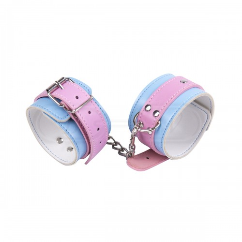 Pink and Blue Faux Leather Ankle Cuffs
