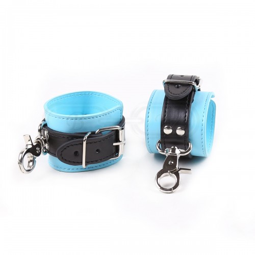 Black and Blue Faux Leather Wrist Cuffs