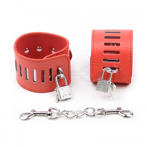 Red Faux Leather Padlock Fastening Wrist Cuffs