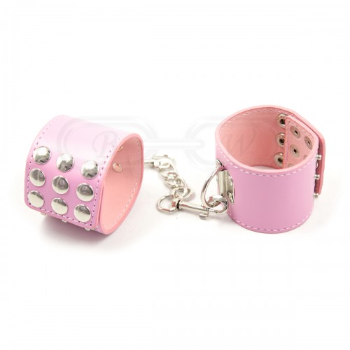 Pink Faux Leather Wrist Cuffs with Decorative Stud Detail