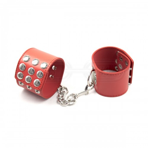 Red Faux Leather Wrist Cuffs with Decorative Stud Detail