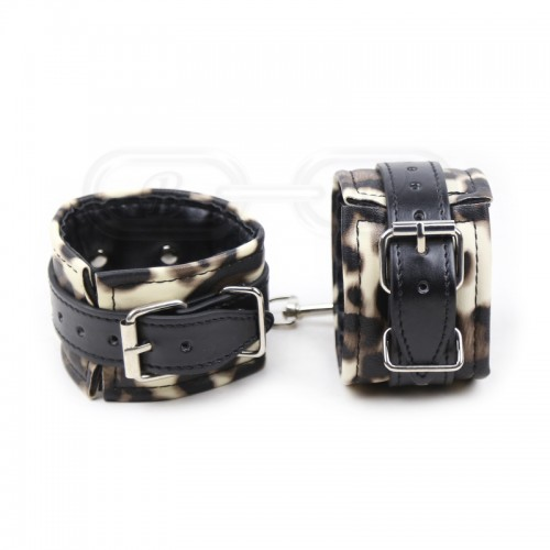 Faux Leather Animal Print Wrist Cuffs