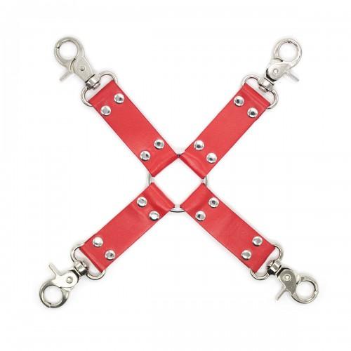 Red Heavy Duty Faux Leather 4-Way Hogtie