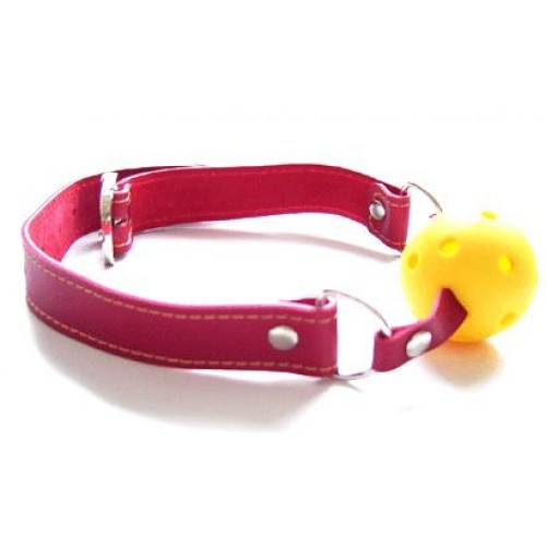 Yellow Ball Gag With Red Strap