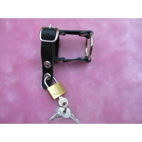 Men's Fetish Bondage Strap With Padlock - Real Leather