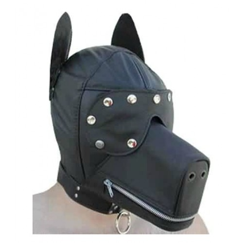 Faux Leather Bondage Dog Hood